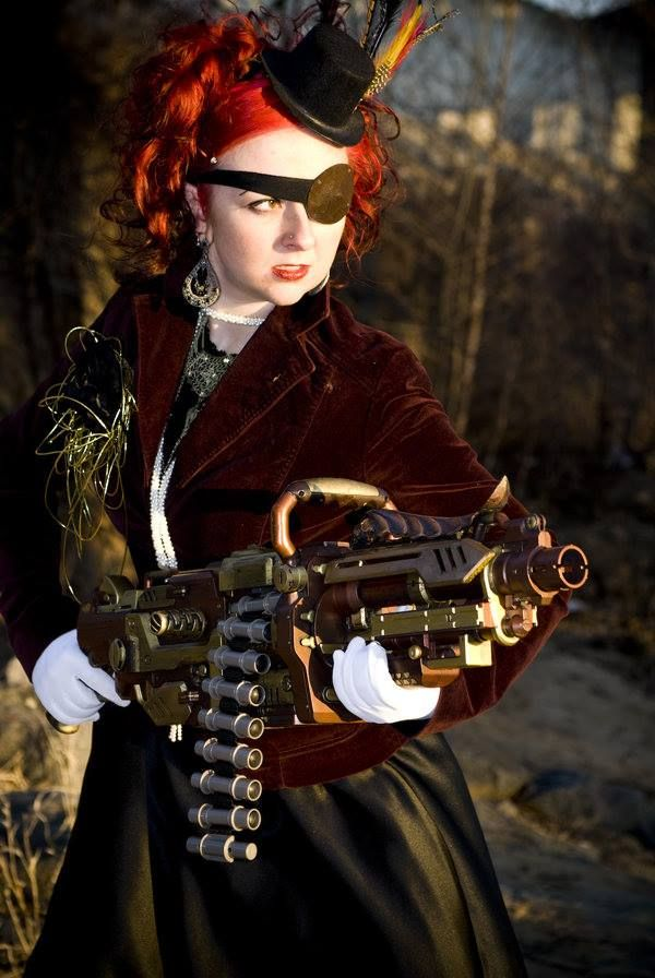 Young lady with Bloody Great Gun.   Steampunk Bazooka by Deanna Danger