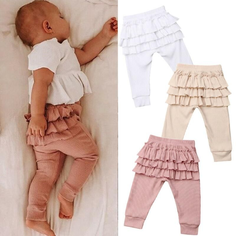 UK Cute Kids Baby Girl Cotton Ruffle Bottoms Solid Long Pants Leggings Trousers