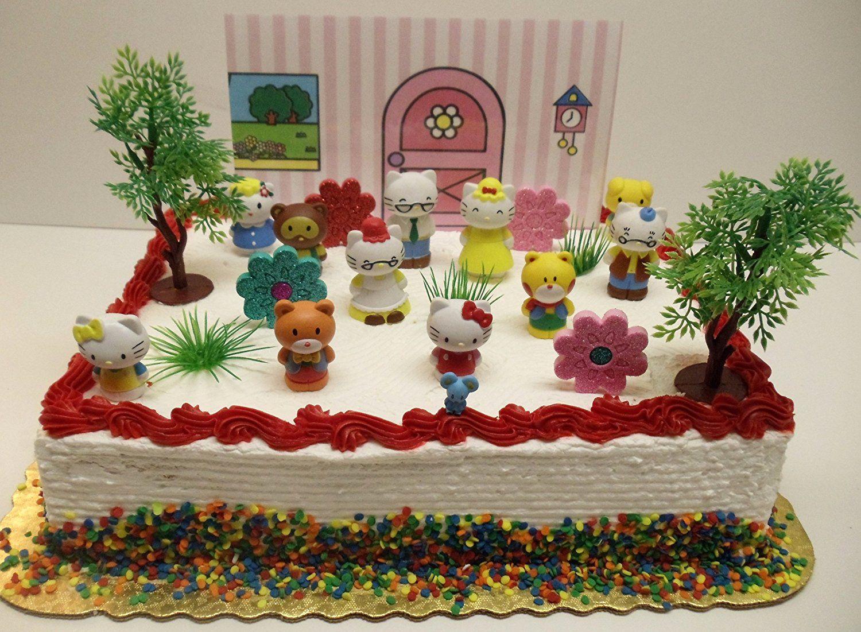 Hello Kitty 20 Piece Birthday Cake Topper Set Featuring 2 Figures