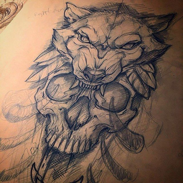 Awesome Skull And Wolf Sketch By At Miketattoo Who Is Always Creating
