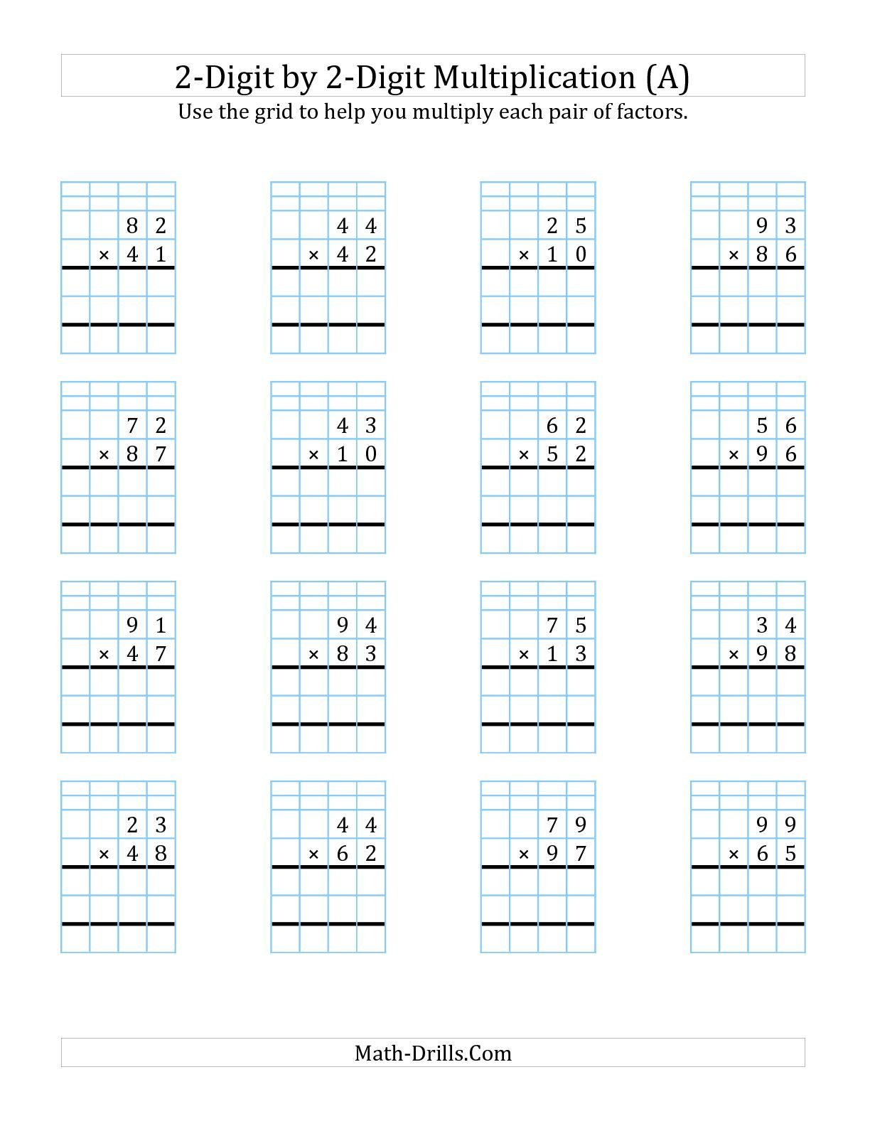The 2 Digit By 2 Digit Multiplication With Grid Support A Math Worksheet From The Long Multiplication Wo Multiplication Worksheets Multiplication Math Drills