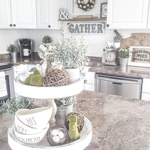 enchanting farmhouse kitchen design   Spring/easter inspired tiered tray   Farmhouse kitchen ...