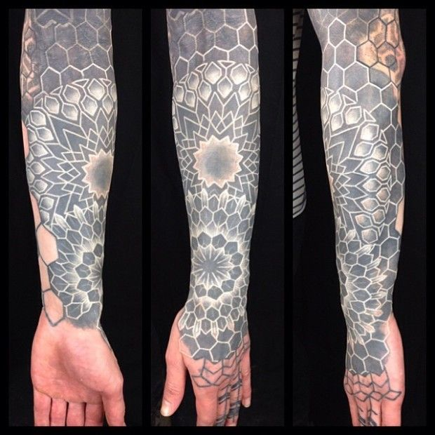 White Ink Over Blackwork Tattoos White Tattoo Tattoos For Guys Blackwork Tattoo