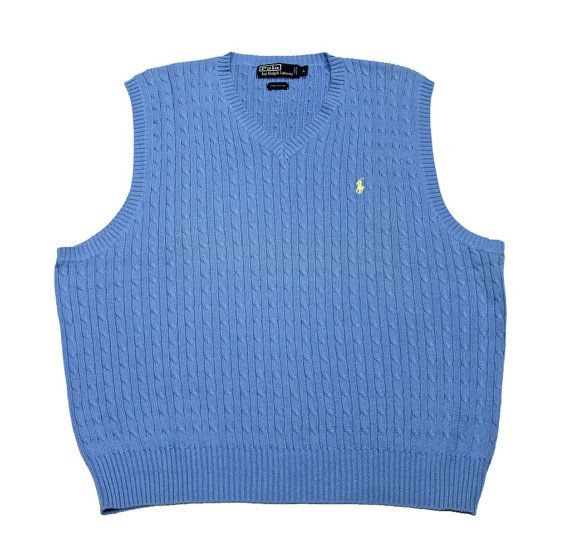 Vintage Polo by Ralph Lauren Sky Blue Cable Knit Sweater Vest Mens ...
