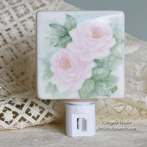 Romantic Pink Roses Porcelain Night Light Hand Painted Cottage Style D – Artistic Romantic