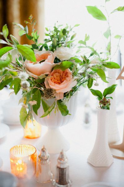 Coral Flower Arrangements With Milk Glass Vases Small Floral