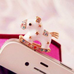 $3.12 Sweet Rhinestone Decorated Women's Carouse Shape Cellphone Dustproof Plug For Women