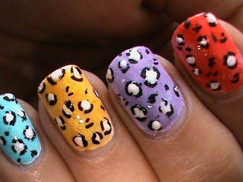 Leopard Nail Art Tutorial Neon Longshort Nail Polish Design To Do