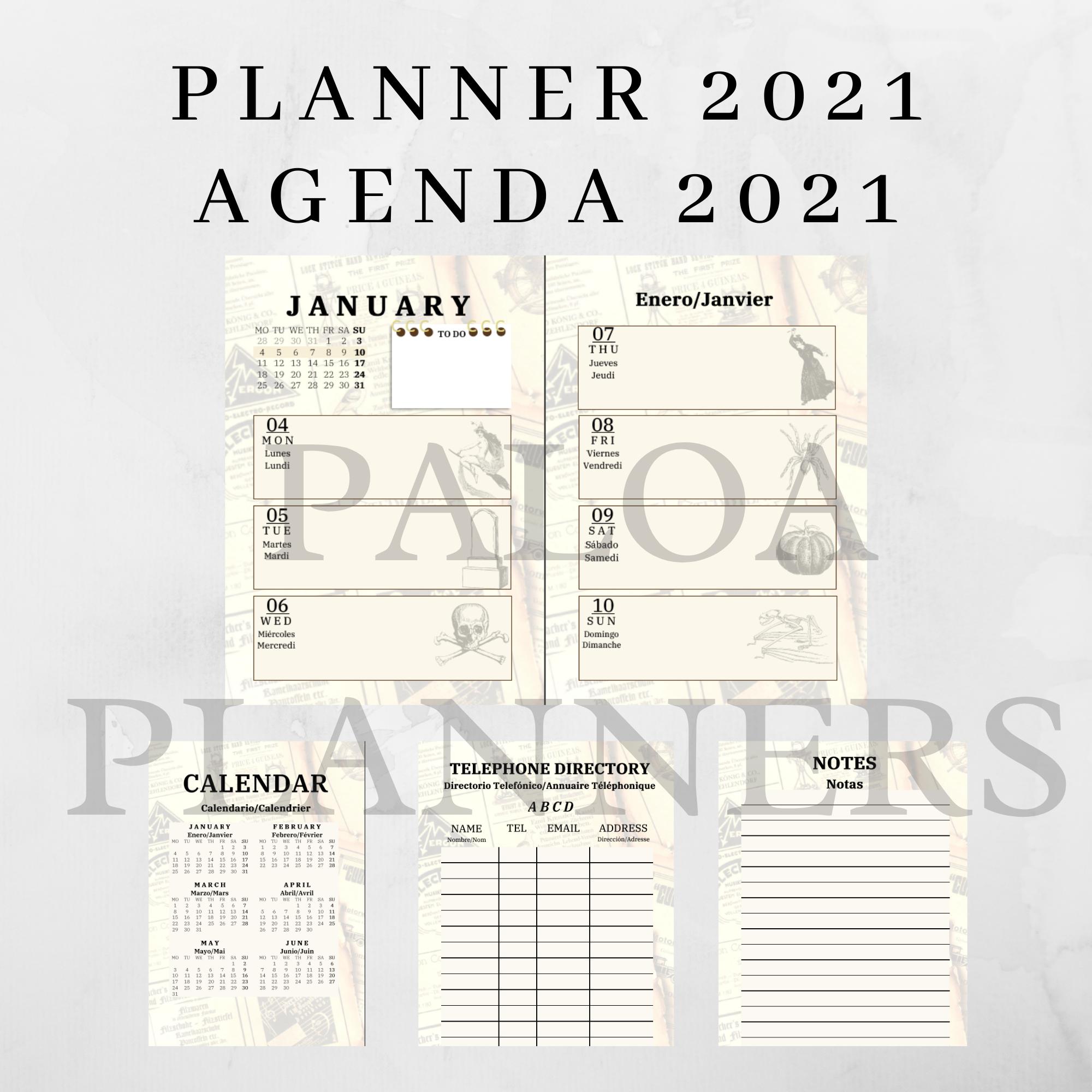 Planificador 2021 Semanal Vintage Imprimible Agenda Semanal Etsy Agenda Vintage Planner Names