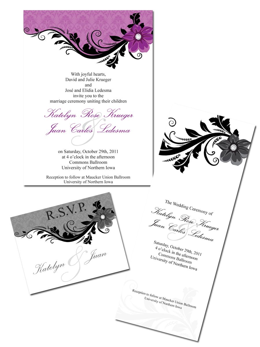 Purple Damask Wedding Invitation, Program, R.S.V.P - Customizable! jocelyn-jensen@hotmail.com