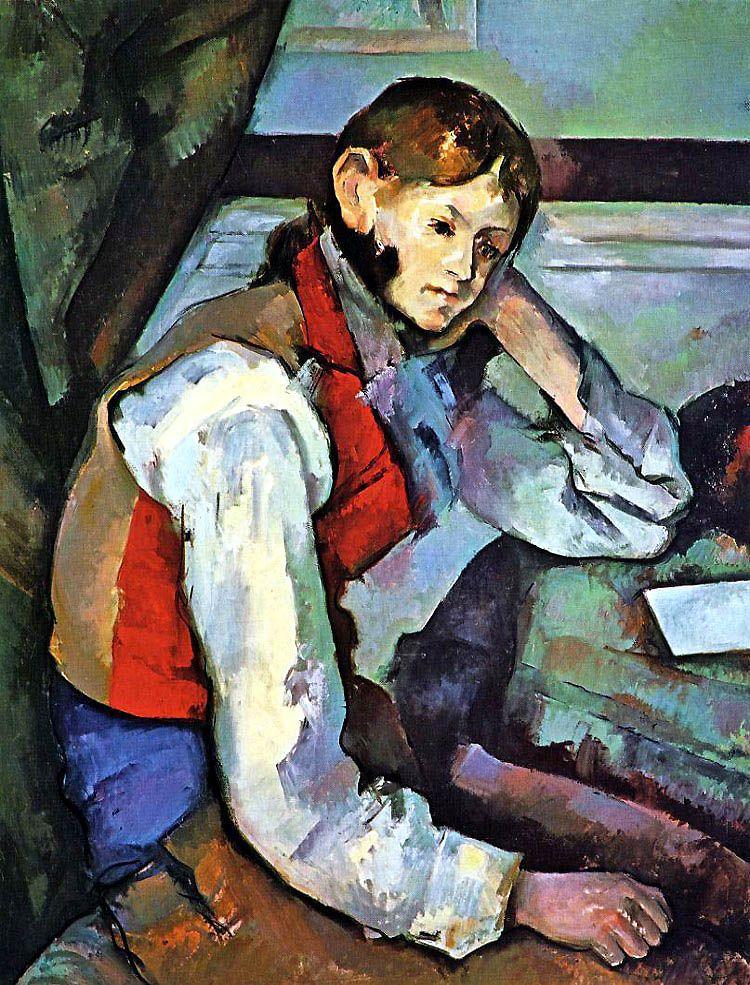 Boy in a Red Vest - Paul Cezanne  #cezanne #paintings #art