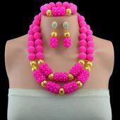 Nigerianischen Hochzeit afrikanischen Perlen Schmuck-Set Kristall Mode Rose Kristall Schmuck ... #nigerianischehochzeit