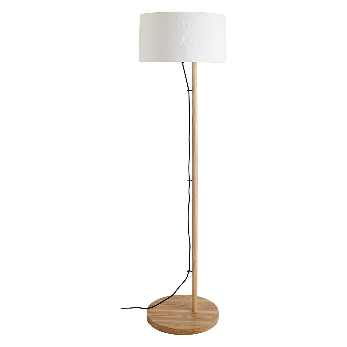 Leigh Oak Wooden Floor Lamp With White Shade Wooden Floor
