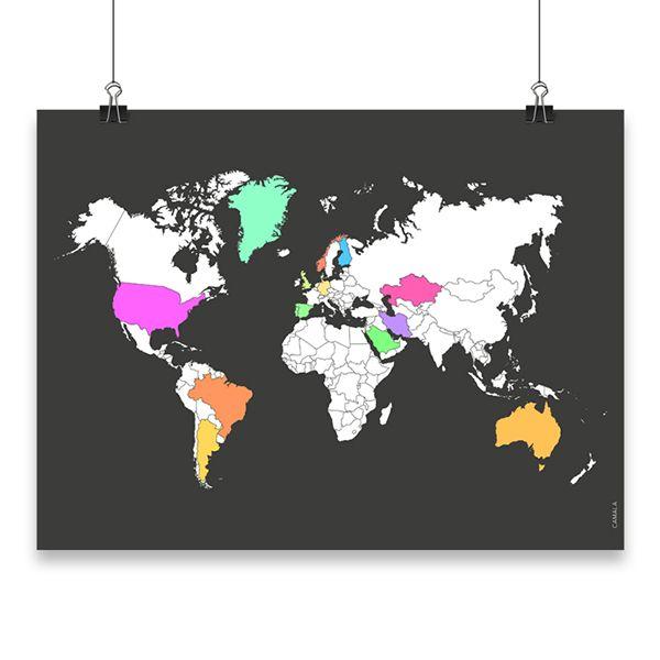 My Travel Map karttajuliste, johon voit värittää kaikki maat, joissa olet matkustanut. Kartasta saa kehystettynä mielenkiintoisen sisustustaulun ja se muuttuu kerta kerralta, kun palaat matkalta ja värität uuden kohteen. Karttajulisteen voi kehystää myös sellaisenaan.   Kotimainen My Travel Map -juliste on painettu laadukkaalle mattapintaiselle, päällystämättömälle paperille.  www.camala-store.fi