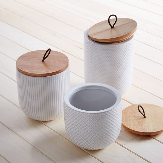Textured Kitchen Canisters | west elm--two of the smaller ones, and one each of the bigger two!