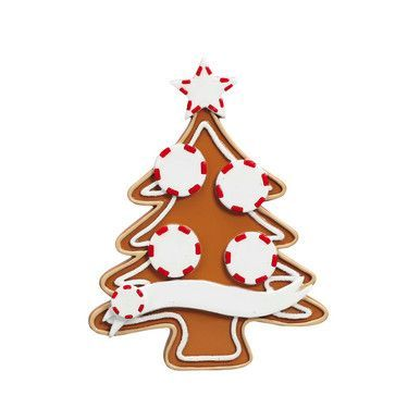 Rudolph  Me Gingerbread Tree Family of 4 Personalized Ornament #4-4