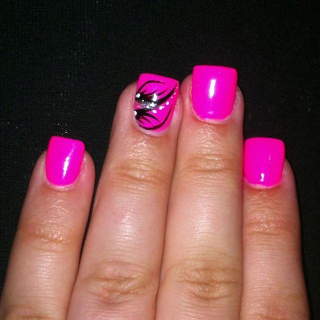 Nail Art Hot Pink And Black Nail Designs Summer Neon Hot Pink