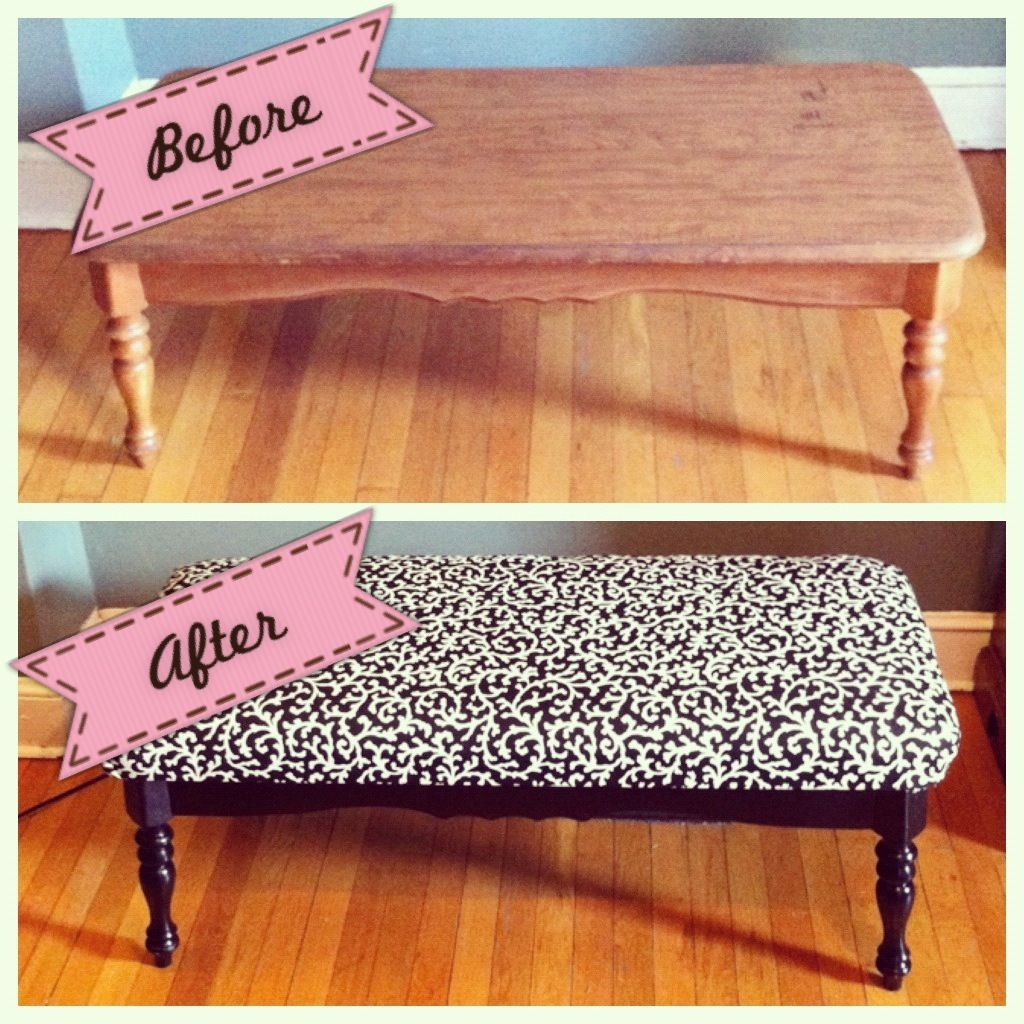 diy bench out of an old coffee table