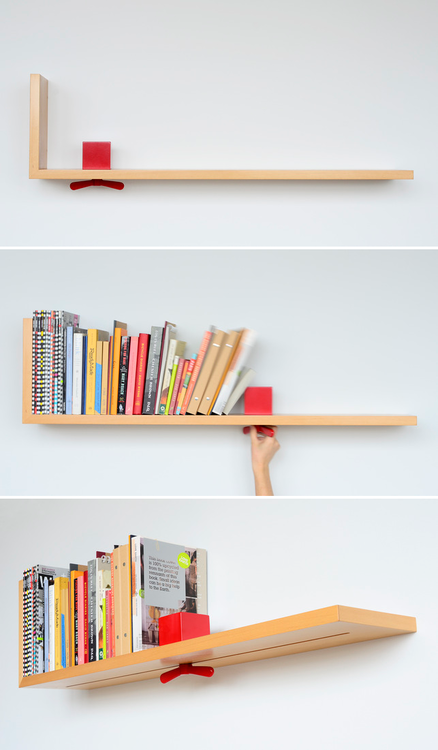 Shelf concept  Why did it take so long to invent this? I don't have good luck with book ends.