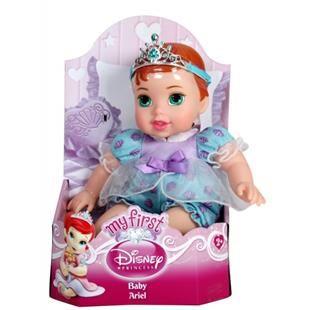 Printesele tale favorite bebelusi Disney!  Alege dintre Aurora, Cenusareasa, Alba ca Zapada, Belle si Ariel. Fiecare Printesa masoara 25 de cm, are un corp moale, este imbracata intr-o rochiata adorabila si poarta o diadema pe cap....