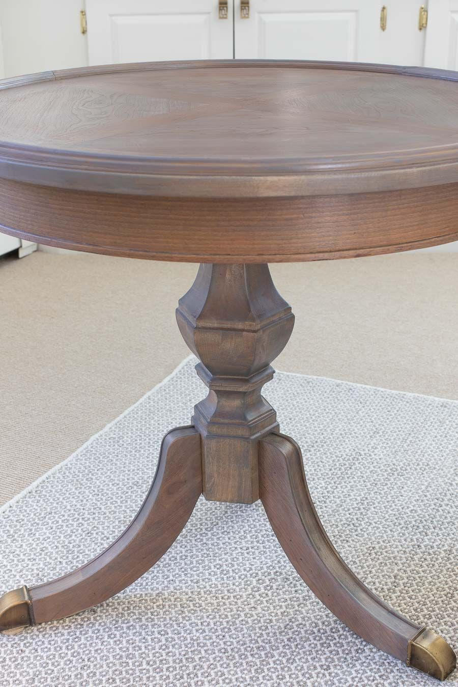 refinished side table with minwax classic gray stain and