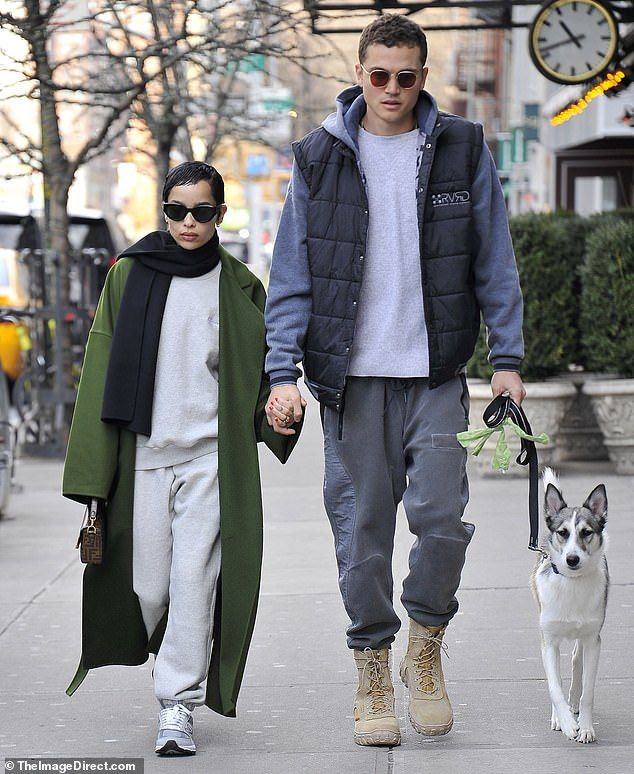 Zoe Kravitz and Karl Glusman hold hands on romantic dog walk in NYC
