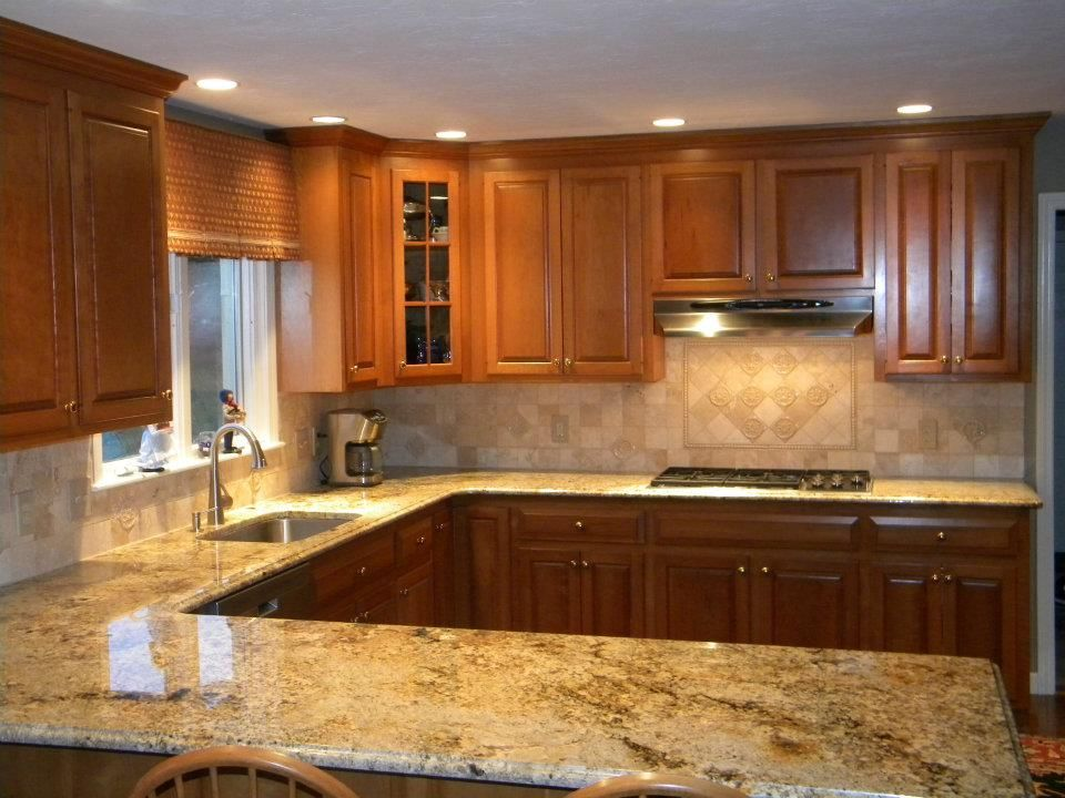 Granite And Backsplash Combinations | Namibian Gold Granite Countertops W/  Tumble Marble Backsplash | The