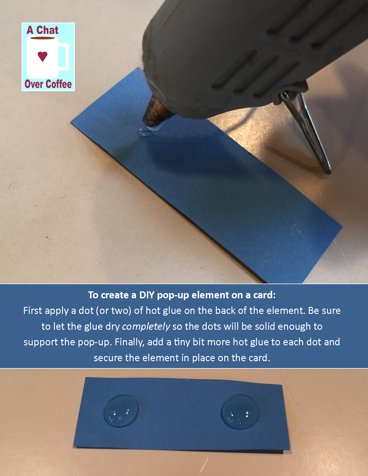 7b8994fba2aa88 Use a hot glue gun to make pop-up dots so elements of your greeting card  design will pop off of the surface.