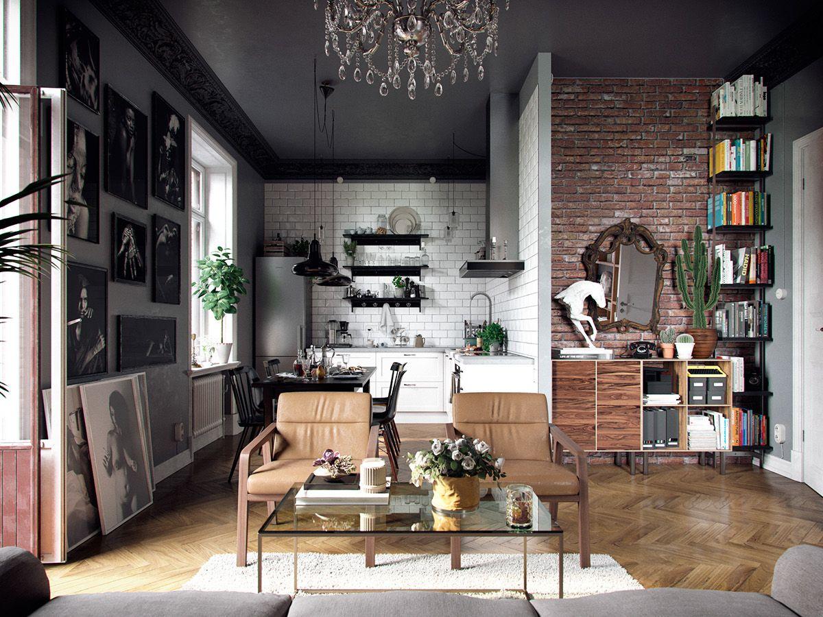 woonkamer-eclectisch-interieur-en-zwart-plafond - urban / modern ...