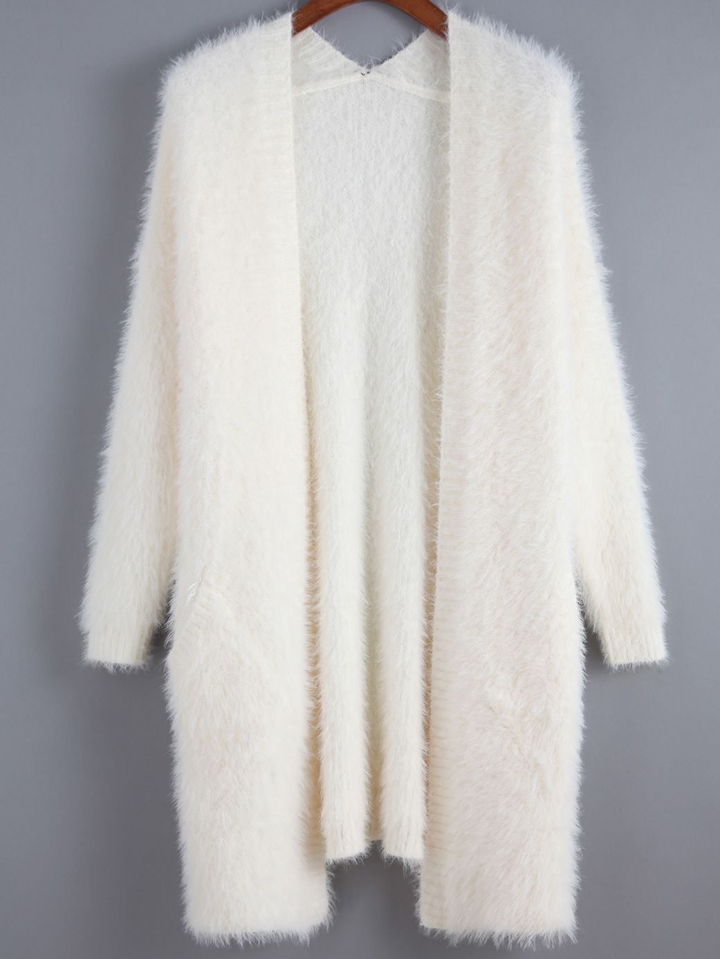 Beige Long Sleeve Shaggy Loose Cardigan Shein Sheinside Tuch Modestil Bekleidungsstile