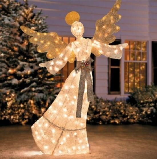 1699569 lighted pre lit glittering christmas angel outdoor holiday yard art decor - Lighted Christmas Angel Yard Decor