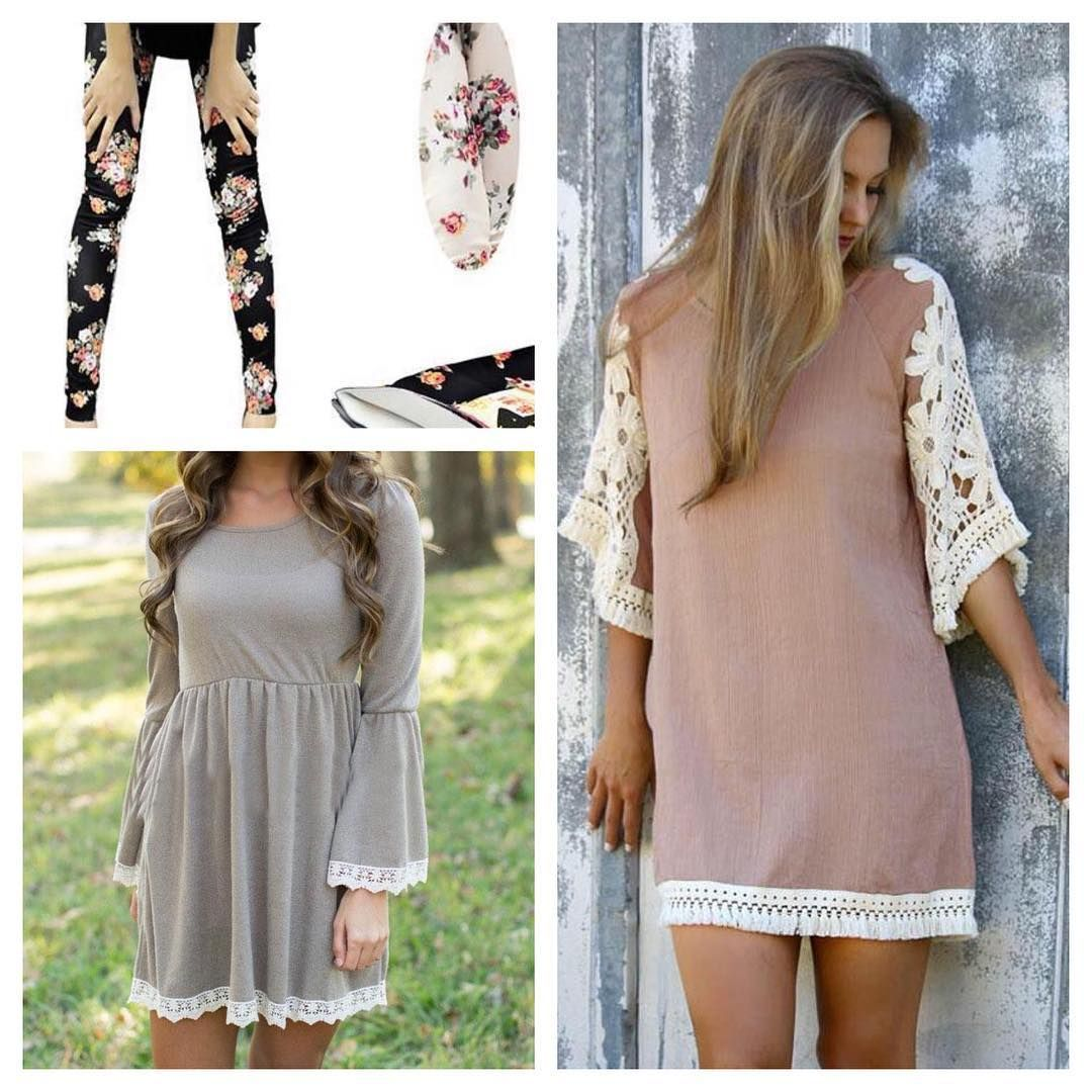 """J: """"I'm offering pre orders now on these fall must haves! Tops $25/ea/ Leggings $15/ea/ shipping is $5/on all orders up to 6 items, additional $5/per ea 6 items! All pieces are one size fits most.. Grey lace trimmed tunic and beige crochet style tunics.. Floral prints black or white leggings. DM for invoices. All items scheduled to be in my hands between the first & third week of Oct. #nanagsfunkyjunk #jamieleigh #jamieleighbug #fallfashion #ladiesfashion #fashionable"""