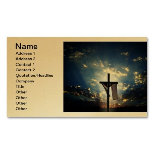 Easter and Palm Sunday Crosses and Scenes Business Card printed on a gold background.