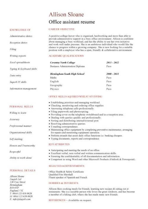 No Work Experience Office Assistant Resume  Job Hunt