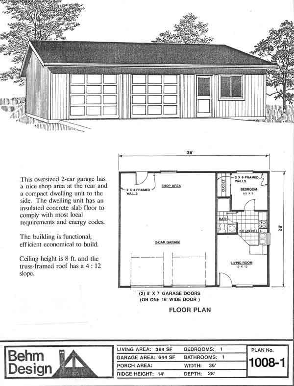 Garage With Apartment Plan No. 1008-1 36\' x 28\' by Behm Design ...