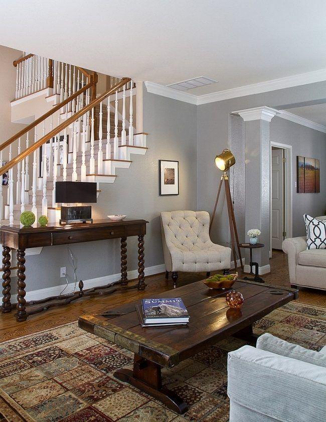 farbideen fürs wohnzimmer hellgrau design wand rustikal couchtisch - Wohnzimmer Design Wandfarbe Grau