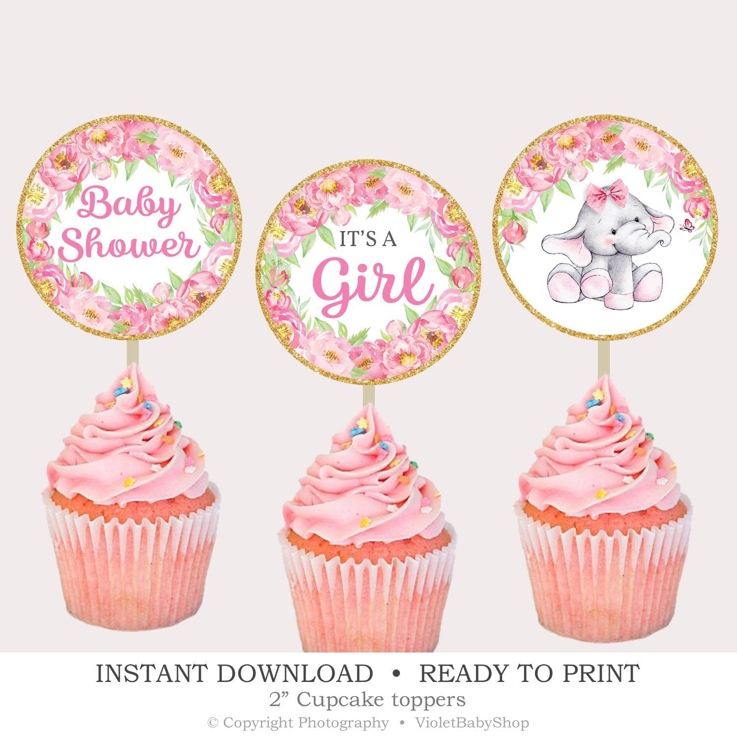 Gender Reveal Shower Cute Elephant Cupcake Topper Decoration- Fun Toppers Girl Baby Shower Boy Baby Shower