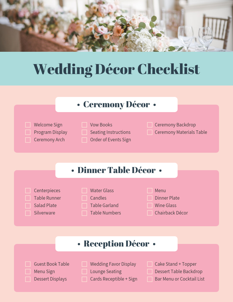 Pink Wedding Decor Checklist Template In 2020 Pink Wedding Decorations Decor Checklist Wedding Decoration Checklist