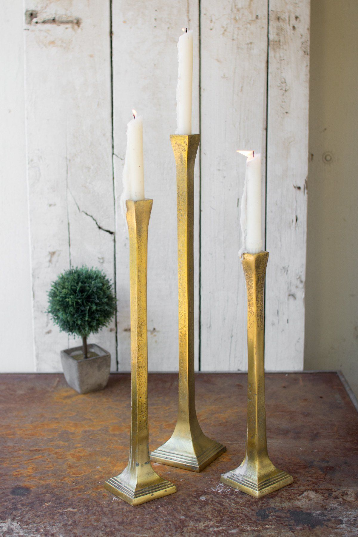 Set Of Three Tall Taper Candle Holders Antique Gold Tall Candle Holders Candle Holders