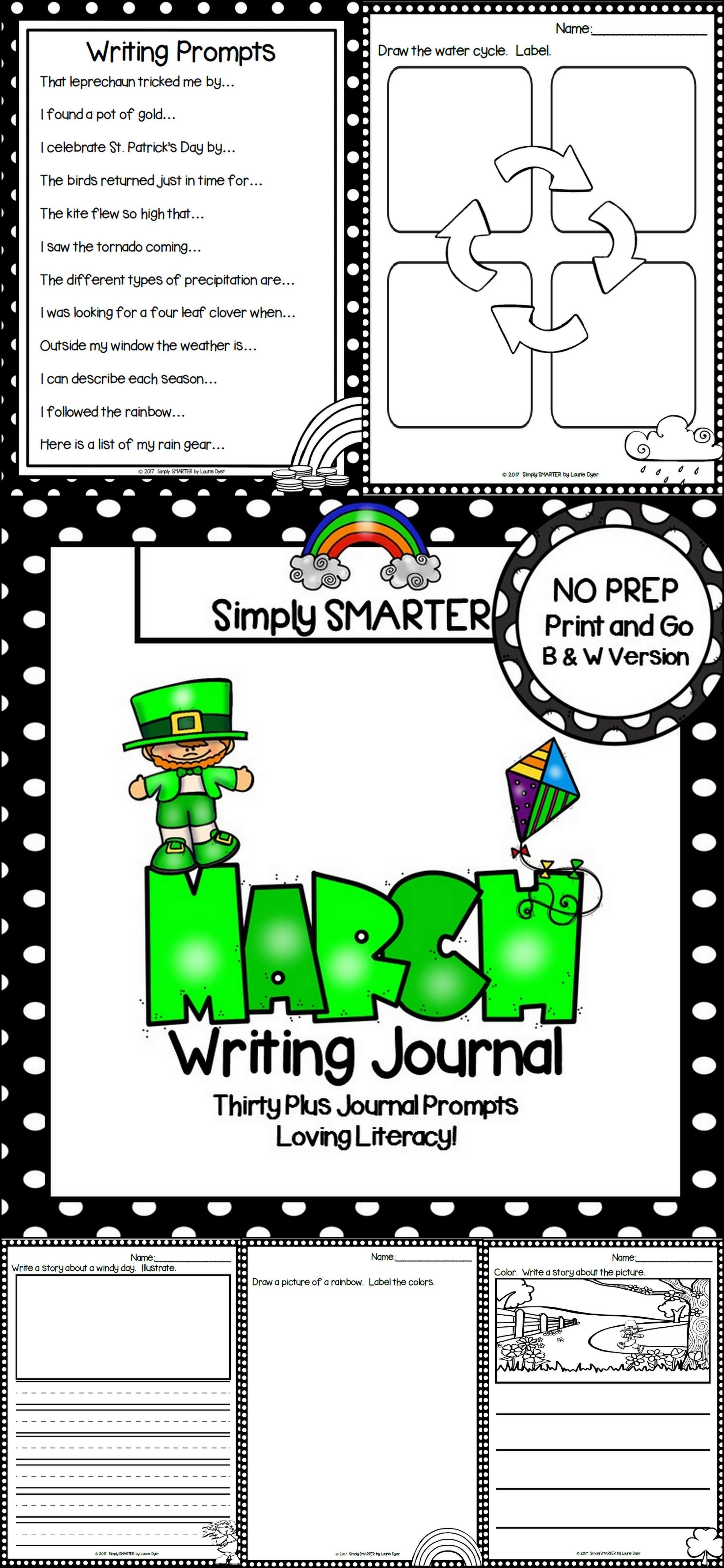 March Writing Journal No Prep Journal Prompts