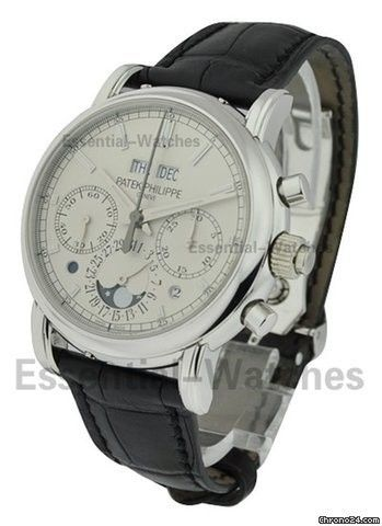 Patek Philippe Perpetual Calendar Rattrapante Chronograph 5204P - Platinum on Leather with Silver Op