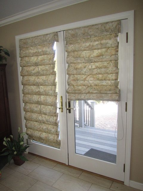 Lovely Hobbled Roman Shades On French Doors