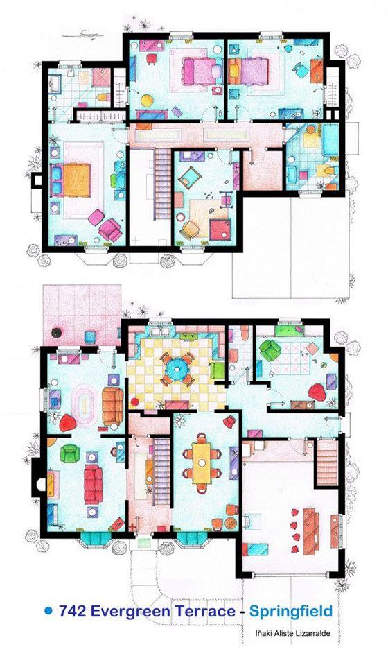 The-Simpsons-Home-Floor-Plans-600x1014jpg (560×946) House Plan - floor plan template