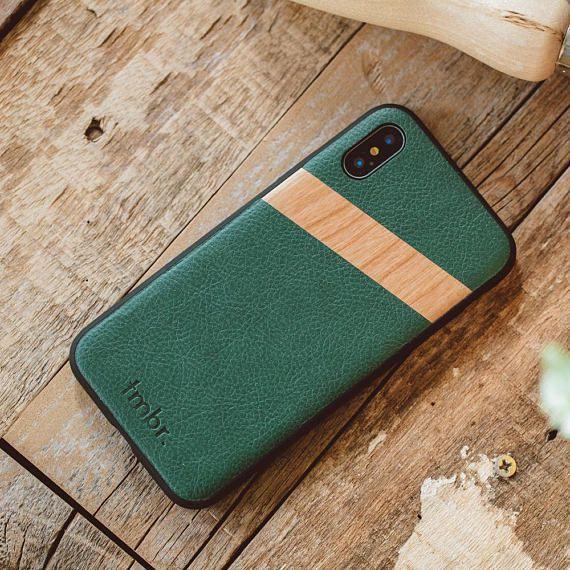 pretty nice f191b cc19b iPhone X Leather Case, Phone Cover Green, Green Leather iPhone Case ...