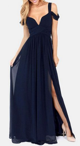 Laconic Slit Design Open Back Ankle Length Dress