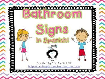 Bathroom Signs Spanish Version Classroom Bathroom School Bathroom Bathroom Signs
