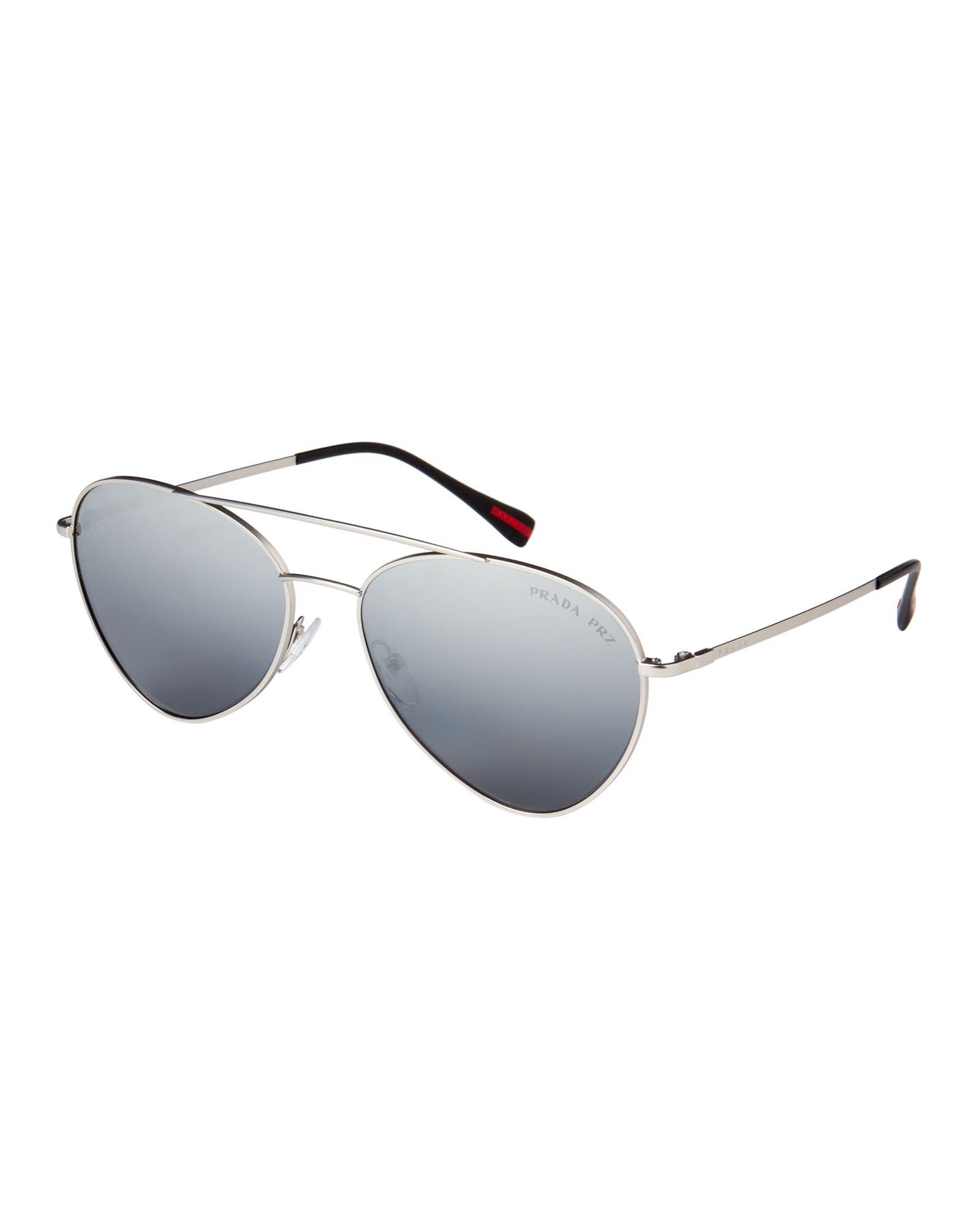 495c306d3ccd1 Prada Sport SPS 50S Silver-Tone Aviator Sunglasses