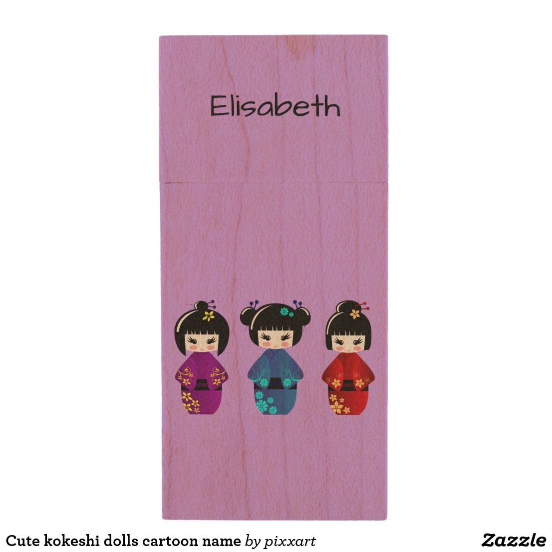 Cute kokeshi dolls cartoon name wood USB flash drive