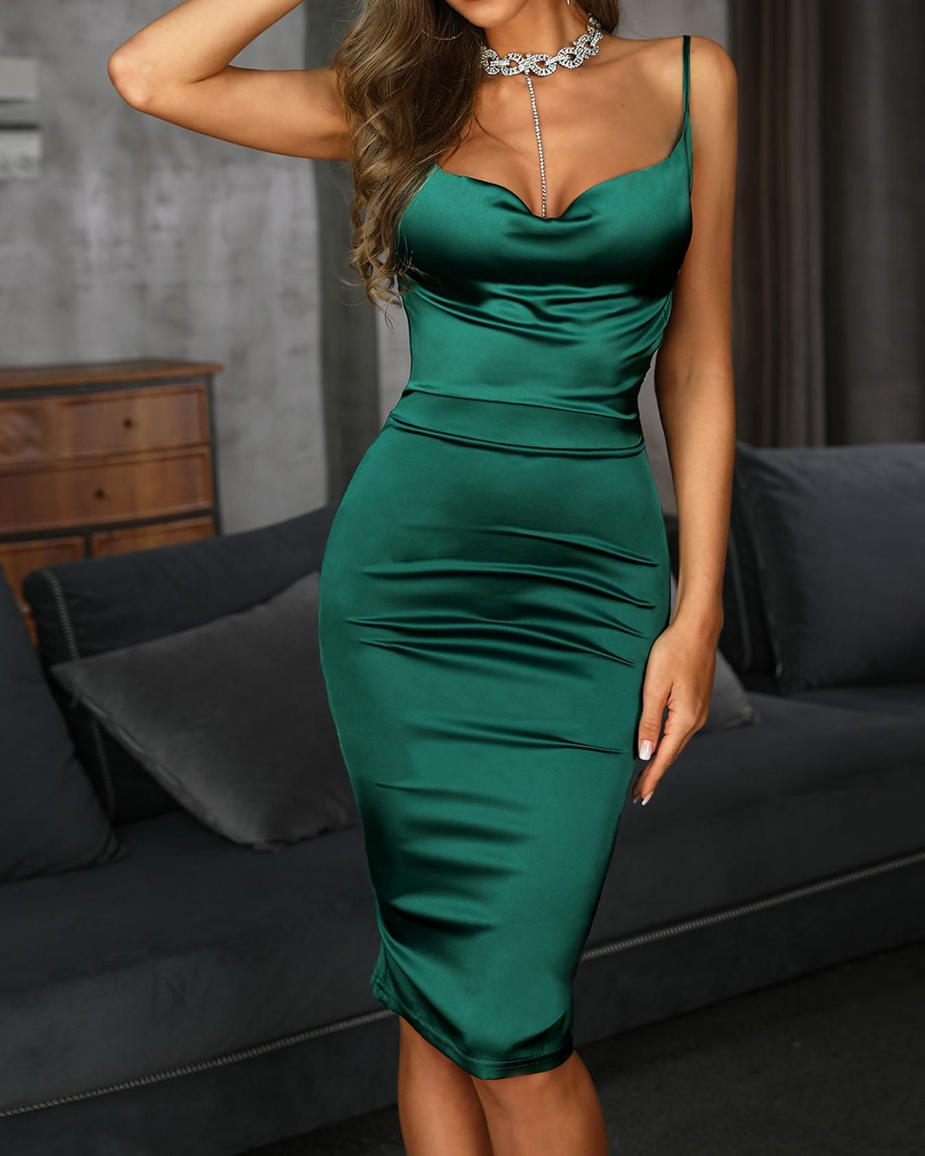 Drape Neck Bodycon Cami Dress
