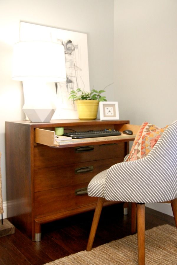 Vintage Dresser Converted Into A Laptop Desk With Hinged Drawer